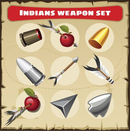 traditional weapon: Indians weapon vector set. Traditional protective weapon with other objects