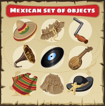 Conjunto de cosas tradicionales de México, nueve objetos vectoriales aislado Ilustración de vector