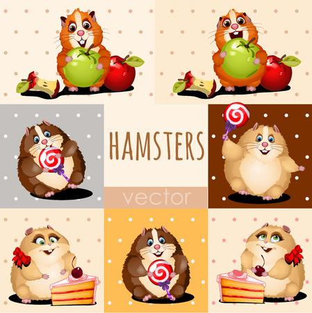manzana caricatura: H�msteres felices con la manzana, pastel y dulces Vectores