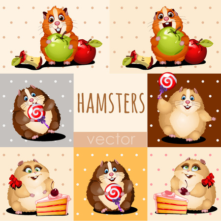 apple red: Happy hamsters with apple, cake and candy Illustration