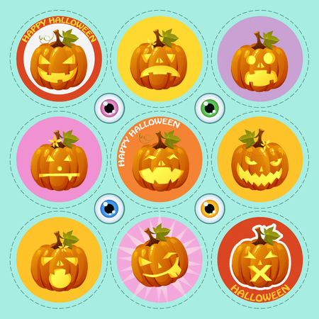 carved pumpkin: Set of carved pumpkin, nine icons with different face expression
