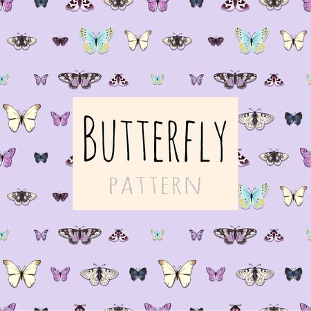 Pattern, set of butterflies with space for text, samples of butterflies
