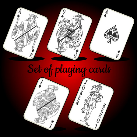 jack of hearts: Set of playing cards on a dark red background