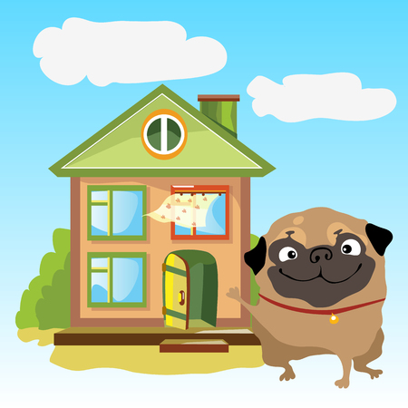 A welcoming home with dog on a beautiful landscape Illustration