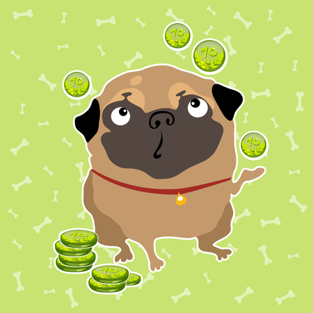 thoughtfulness: The pug dog finds the money, light green background with bones
