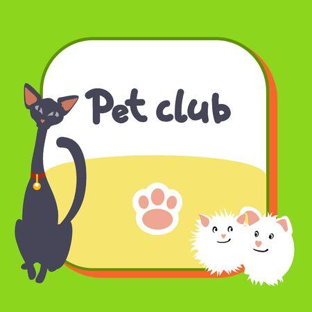 abyssinian: Card for pet club, logo, postcard