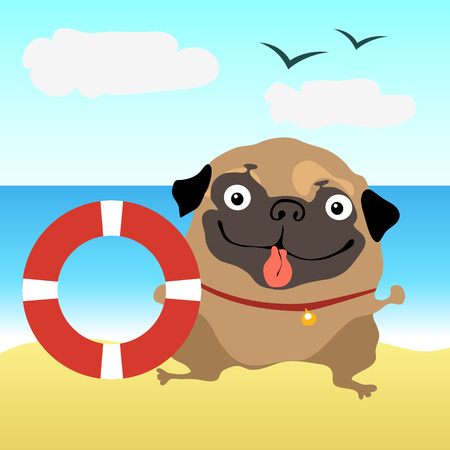 lifeline: Dog pug at the beach with a lifeline Illustration