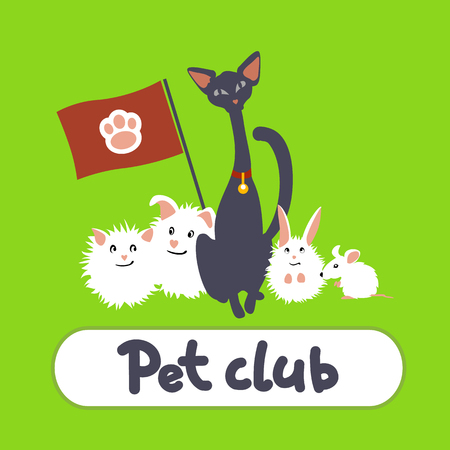 breeder: Greeting card with cat and pets on a green background Illustration