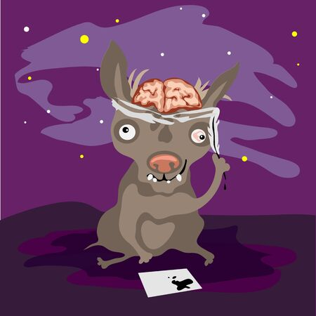 eye bandage: halloween crazy dog, themed postcard on a dark sky background