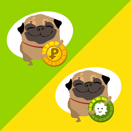 profusion: Tow happy dog pug with coins on a different backgrounds