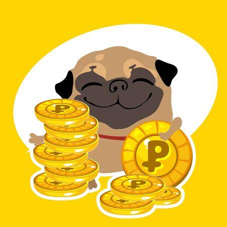 profusion: Joyful rich dog pug with gold coins Illustration