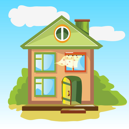 美しい風景に扉の開いている居心地の良い家