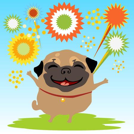 草と空の背景に花火で幸せな犬