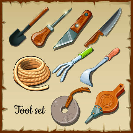 mattock: Set of tools gardeners on the background of parchment paper