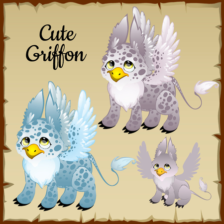 classical mythology character: Set of three cute griffons