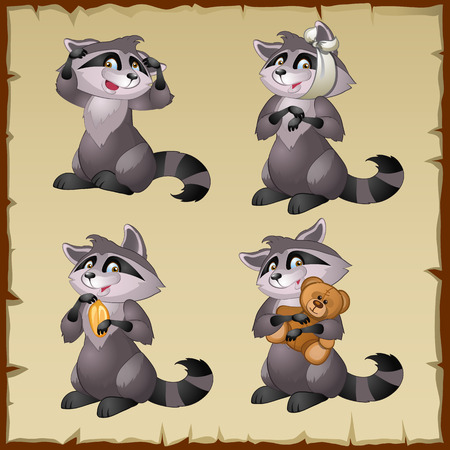 raccoons: Set of four cute raccoons on a parchment background