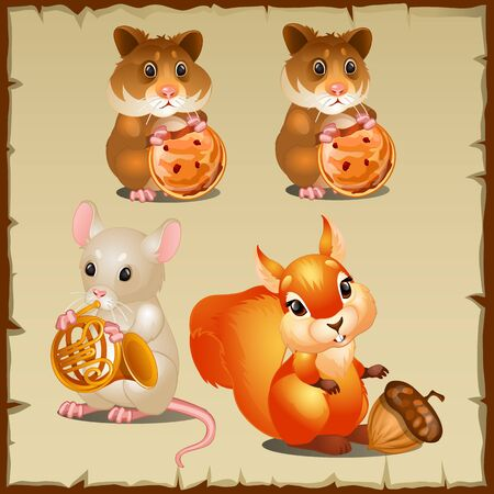 hamsters: Set of cute squirrel with hamsters and mouse Illustration