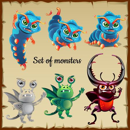 menacing: Set of six menacing insects Illustration