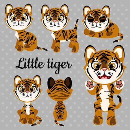 tigre bebe: Conjunto de tigre emociones bebé sobre un fondo gris