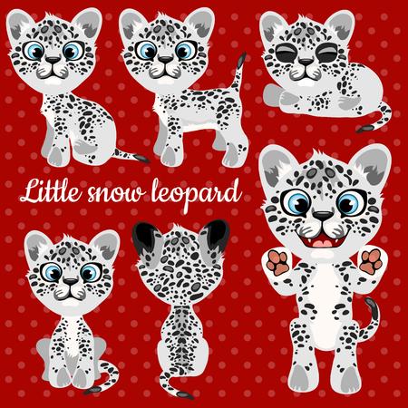 snow leopard: Set of emotions a little leopard on a red background Illustration