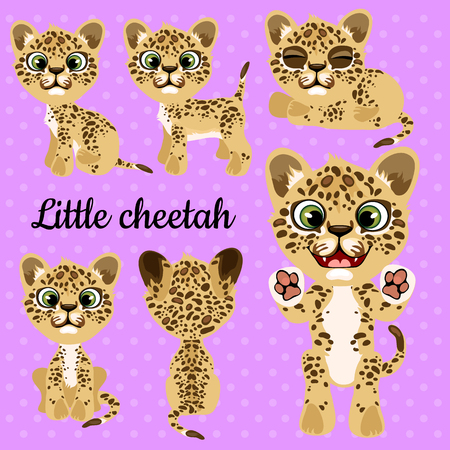 panthera: Set of emotions little leopard on a pink background