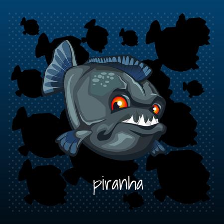 carnivorous: Carnivorous piranha grins on a dark background