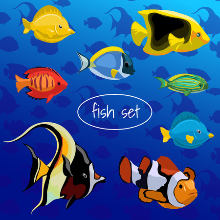 blue fish: A set of colored fish on a blue background Illustration
