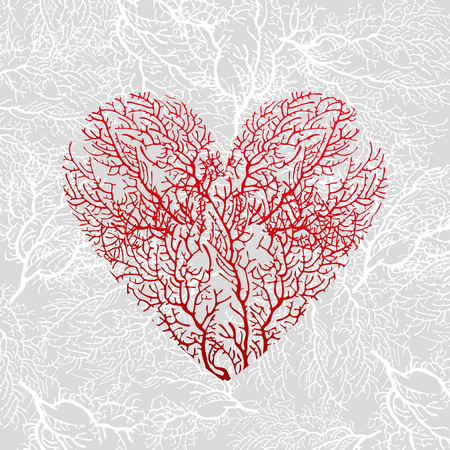 Heart of red coral
