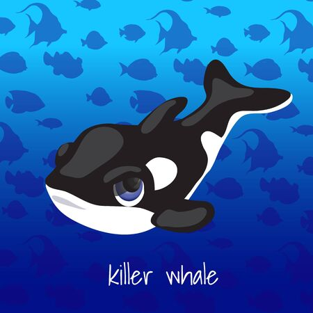 killer waves: One cartoon whale on a sea background