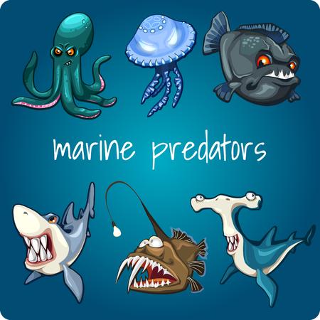 Marine predators: shark, piranha, jellyfish and other