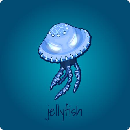phosphorescence: Single jellyfish closeup on deep blue background
