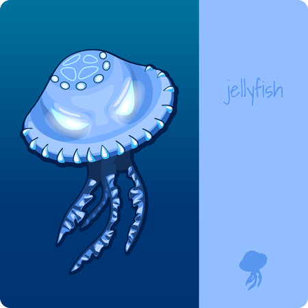 deepsea: Single jellyfish with space for text Illustration