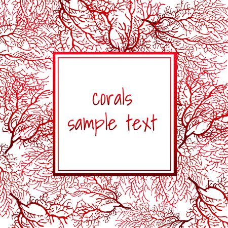 Texture card of red coral with text