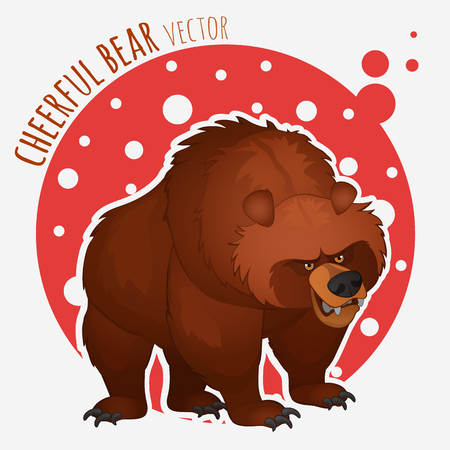 angry bear: funny angry bear on a red and white background