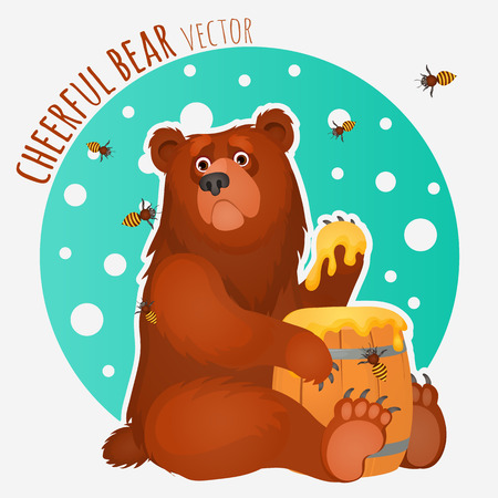 Cheerful bear with bees and honey Ilustração