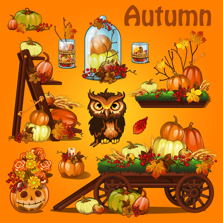 Autumn postcard with pumpkin and leaves Иллюстрация