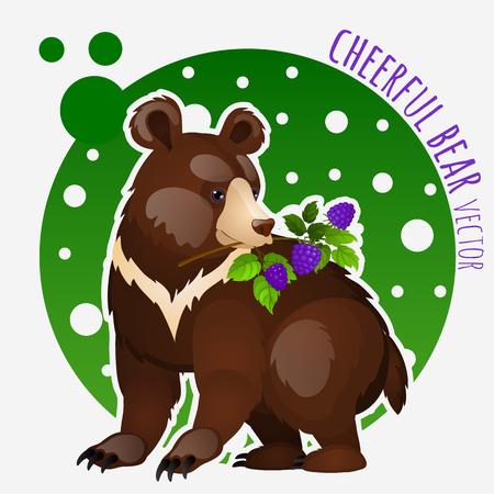 blackberries: Cute bear with blackberries on white-green background Illustration