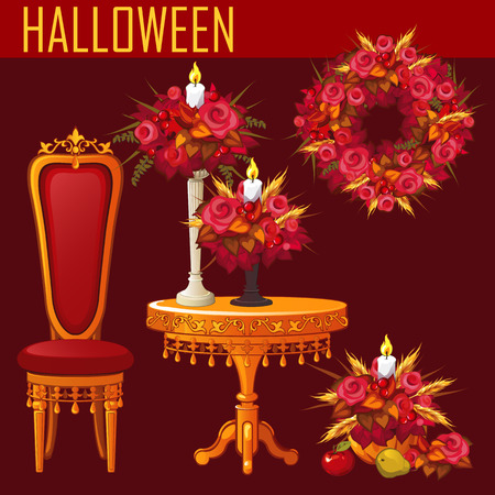 rojo oscuro: Holiday card for Halloween on dark red background