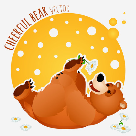 carefree: Carefree bear plays with a flower