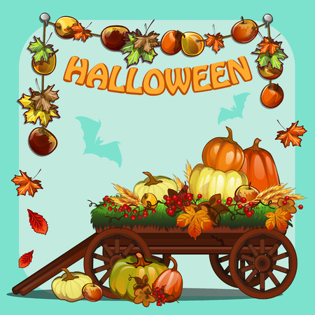 carved letters: Wagon with pumpkins for Halloween Illustration