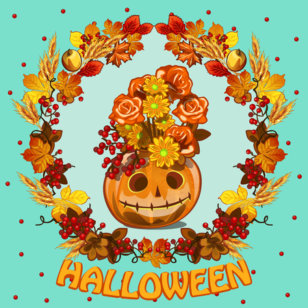 carved letters: A wreath of leaves and grinning pumpkin with a hat of flowers and foliage in the center Illustration