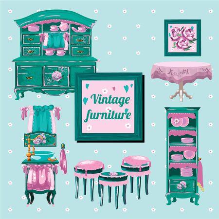 muneca vintage: muebles de mu�eca de la vendimia, entre objetos de edad Vectores