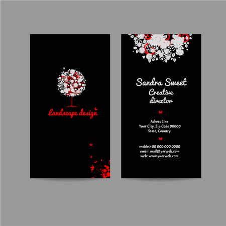 white blossom: Landscape desing business card, name card