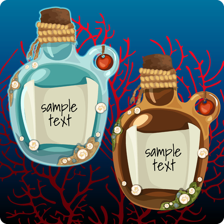 castaway: Two bottles at the bottom with note among the corals. On the note there is a space for text