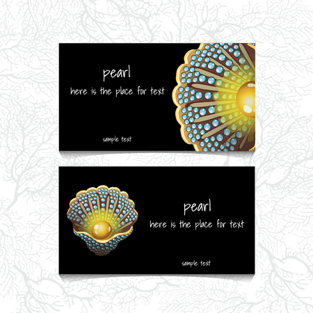 deepsea: Pearl design horizontal business card, name card or visiting card with front and back side presentation Illustration