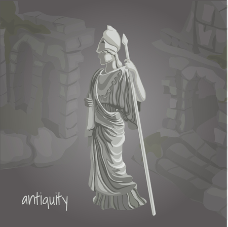 sculpture: Cartoon image of ancient sculpture on a gray background
