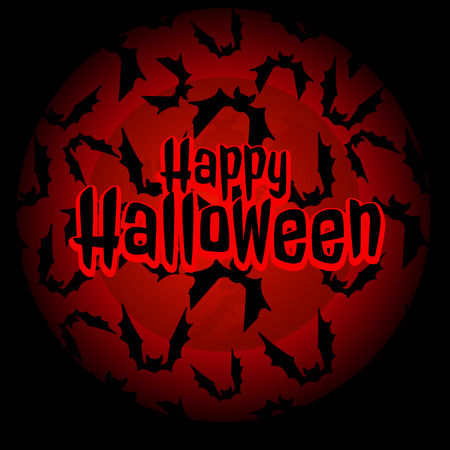 rojo oscuro: Bats in a hurry for Halloween on a dark red background