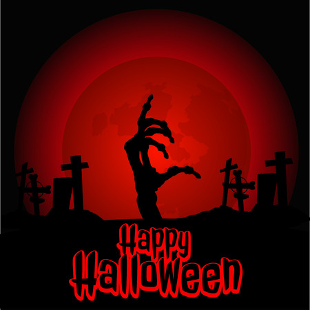 bony: Hand zombie in the cemetery on Halloween