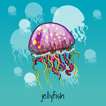phosphorescence: One color spotted jellyfish on a celadon background