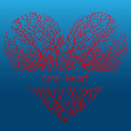 underwater ocean: Red coral heart on a dark blue background